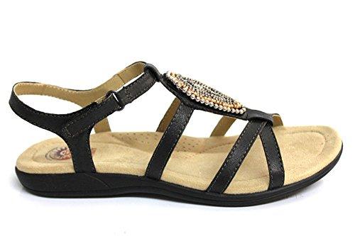 Earth Spirit da donna strass strappy opentoe estate sandali taglia UK 3–8 Black