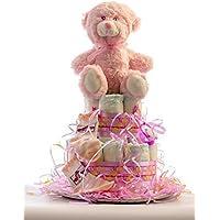 Tarta de pañales DODOT. Un regalo original para el bebé recién nacido incluyendo peluche, calcetines y toalla facial.