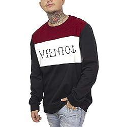 VIENTO Letters Sweatshirt para Hombre (Negro, x-Large)