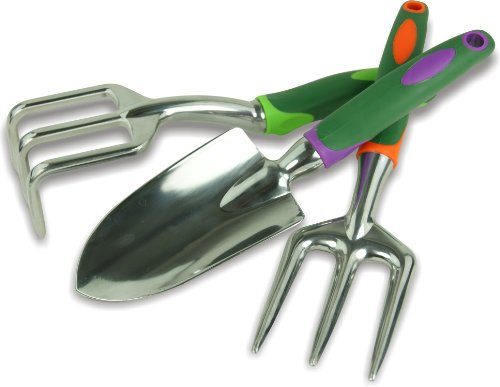 Coffret de trois outils de jardin : fourche, truelle et rateau