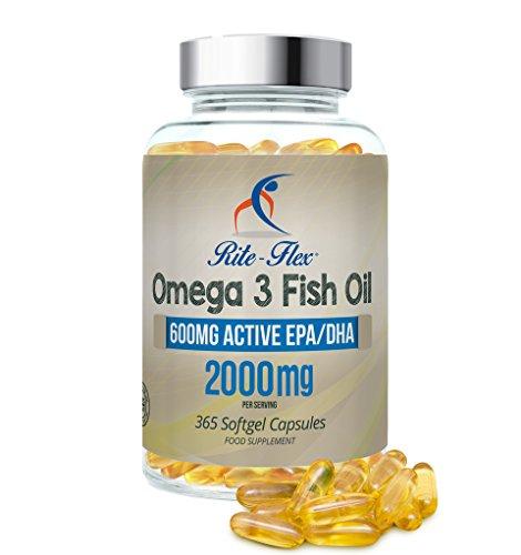 Omega 3 l'Huile de poisson 2000mg 365 Soft Gel Capsule de Rite Flex (1000 mg par capsule)