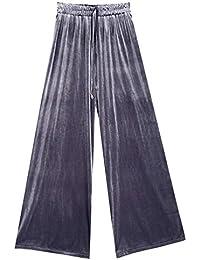 Pantalones Anchos Mujer Largas Elegante Otoño Terciopelo Elastisch Bund  Fiesta Estilo Correas Cruzadas Pantalones Falda Culotte 654206c40eb7
