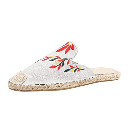 Sandalias de Romanas Bordadas para Mujer y niña, Zapatos Planas Sandalias Playa Alpargatas cuñas Mujeres...