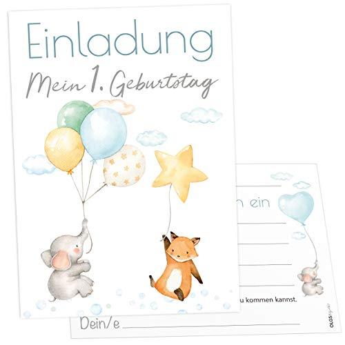 12 Einladungskarten Ballon Party Elefant Fuchs Kindergeburtstag Kinder Party Geburtstag-Einladungen zum ausfüllen (Junge)