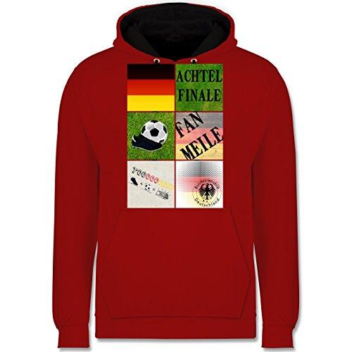 Fußball-WM 2018 - Russland - Deutschland Achtelfinale Fan Shirt - Kontrast Hoodie Rot/Schwarz
