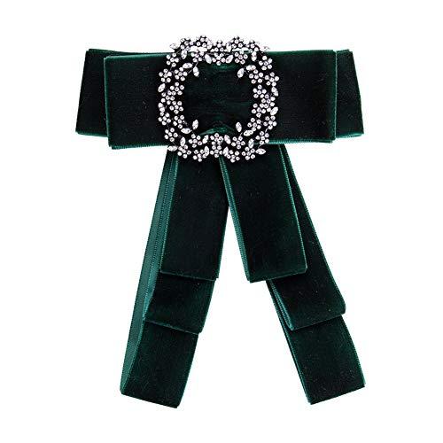 Nowbetter Stilvolle Elegante Schleife Brosche mit Strasssteinen, grün, 16.2 * 13.2cm
