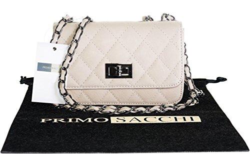 Borsa di cuoio italiano Design classico diamante forma borsa tracolla imbottita, con catena in metallo e cuoio, maniglie / tracolla include una custodia protettiva marca Crema
