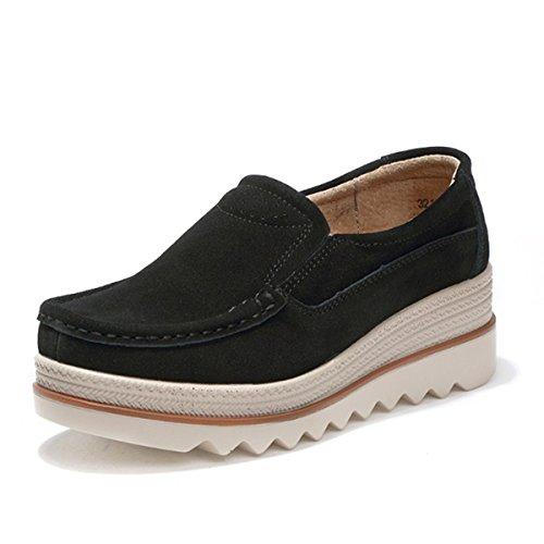 Gracosy Mocasines cómodos Mujeres Zapatos de cuña de Cuero de Gamuza Suave Toning Rocker Plataforma...