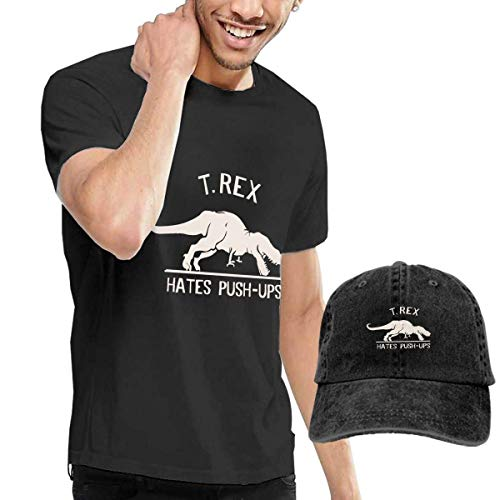 Baostic Herren Kurzarmshirt T-REX No Like Push-UPS Tshirts Washed Denim Baseball Dad Hats Black