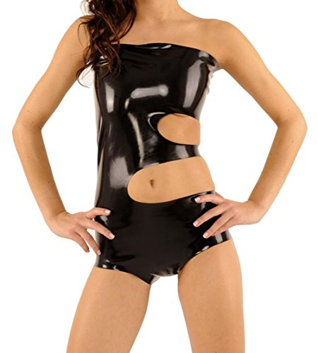 EXLATEX Frauen Gummi Latex Fetisch Tr?gerlosen Crop Top Catsuits