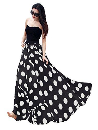 Urbancoco Damen Chiffon Polka Dot Print langen Maxi-Rock mit hoher Taille Sommerkleid (XL, schwarz) (Elastische Taille-print-rock -)