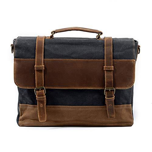 Preisvergleich Produktbild HWYP Neues wasserdichtes Öl-Wachs-Segeltuch mit Aktentasche aus Leder Europäische und amerikanische Retro-Business-Tasche für die Handtasche mit Umhängetasche