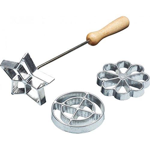 Kitchen Craft Rosetten-Set Home Made Kreis/Blume/Stern 3-teilig, Aluminium, Silber, 28 x 28 x 30 cm