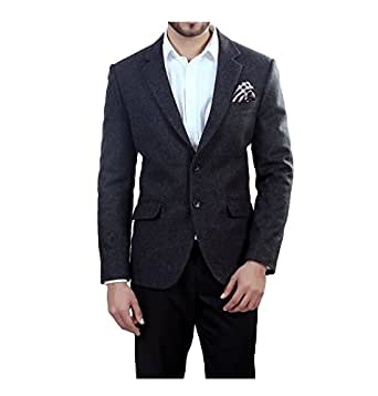 ManQ Grey Slim Fit Woollen/Tweed Men's Blazer