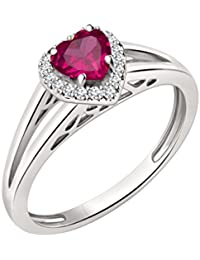 Silvernshine 7mm Heart Cut Ruby & Sim Diamond Halo Engagement Ring In 14K White Gold Plated