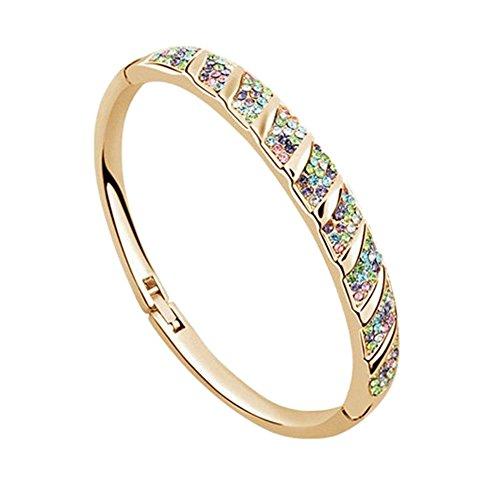 Sanwood Armreif / Armband / Modeschmuck aus Kristallglas für Frauen, goldfarben, Einheitsgröße