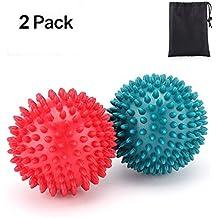 Casefashion 2 Stücke Massageball 8 CM * 2 mit Noppen Massagekugel Reflexzonen Erleichterung in Bezug auf die Schmerzen zur Behandlung Plantarfaszien Entzündung Hart in Farbe Rot+ Grün Massage ball