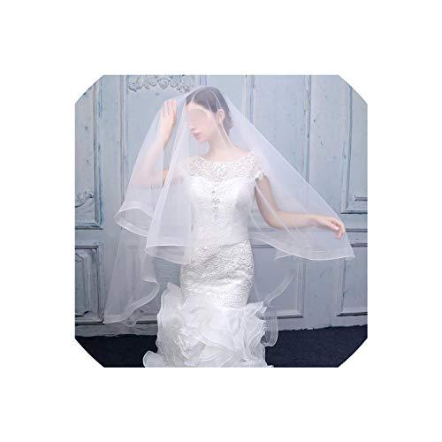 Elfenbein Tulle Kathedrale Schleier Hochzeit Braut Eine Schicht Langer Schleier ohne Kamm Braut Haarschmuck, 150cm