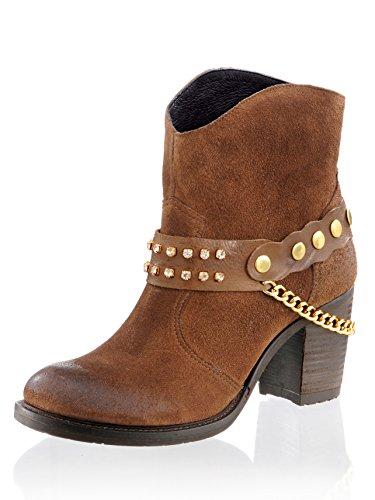 Damen Stiefelette im Cowboy-Stil 38 by Alba Moda (Cowboy Stiefeletten Fashion)