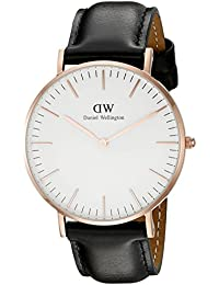 Daniel Wellington - 0508DW - Sheffield - Montre Mixte - Quartz Analogique - Cadran Rose - Bracelet Cuir Or rose