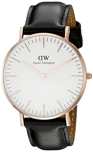 Daniel Wellington Damen-Armbanduhr Classic Sheffield Lady Analog Quarz Leder DW00100036, Rosé Gold