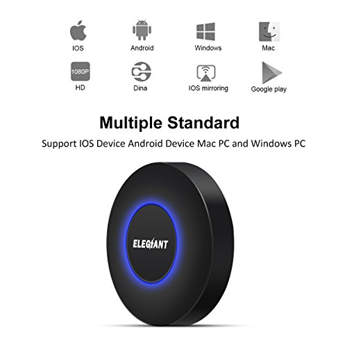 Wireless HDMI Dongle, ELEGIANT Mini drahtlose HDMI WLAN Dongle Empfänger Adapter 1080P Anzeige Airplay Miracast DLNA WiFi TV Display Receiver Empfänger HDMI Media Cast Funktion für Android IOS (Beste Hd-monitor)