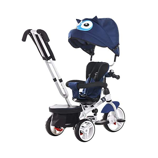TRICYCLE 4-in-1 Baby Kid Buggy Stroller with Reversible Seat Detachable Push Handle - 18 Months to 5 Years,Blue  MULTIFUNCTIONAL - Kids trike with multiple parts allowing you to freely assemble or convert to make it transform into stroller, steering trike, normal trike, baby walker. It is the best choice as your child's outdoor companion all along its growth from 6 months to 6 years old! LARGE BACKREST - Breathable heightening backrest and 360° rotatable seat for providing your child a more comfortable place to rest when it's tired after playing outside. It's one of a kind! Front and back EVA free pneumatic tire, wear-resistant and shockproof, all-terrain wheels. All for a cozy ride! 1