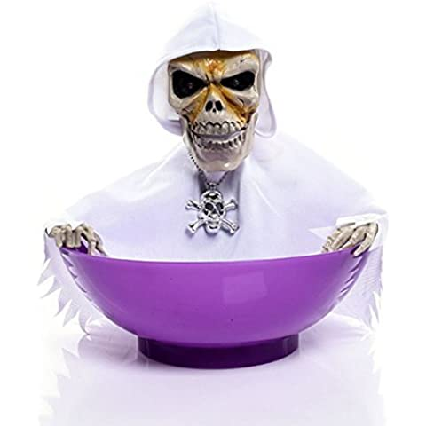 Leehonn Skull Trick or Treat Candy Bowl Halloween Ghost Decorations,LED Eyes+Built-In Motion Sensor Voice(White-Purple) by Leehonn
