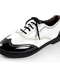 ZQ hug Zapatos de mujer-Tacón Robusto-Comfort / Punta Redonda-Sneakers a la Moda-Exterior / Casual-Semicuero-Negro / Marrón , brown-us6 / eu36 / uk4 / cn36 , brown-us6 / eu36 / uk4 / cn36
