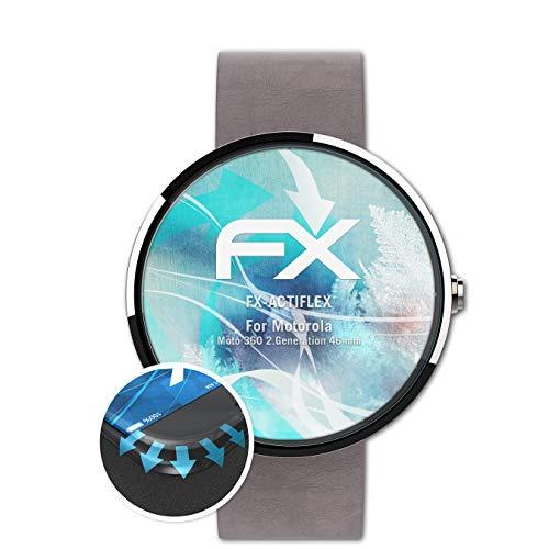 atFoliX Schutzfolie passend für Motorola Moto 360 2.Generation 46 mm Folie, ultraklare & Flexible FX Bildschirmschutzfolie (3X)