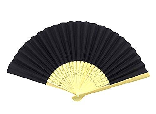 Lumanuby 1x DIY Hand Fächer aus Bambus und Papier Taschenfächer Faltbare Fan für Dekoration und Malerei Hochzeit Zubehör (Schwarz)