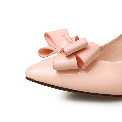 AgooLar Damen Rein Stiletto Ziehen Auf Spitz Zehe Pumps Schuhe Pink UqjkEv