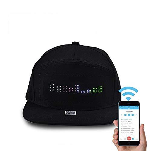 LED-Display Bildschirm Hat Light Up Hut Golf Hip-Hop Sports Flash Cap Lighted Glow Flashlight Hip-Hop-Flash-Cap,Black ()