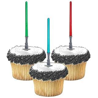 Adorox (36pcs) Star Wars Lightsaber Cupcake Picks Toppers Birthday Fun Party Decorations Kit (36)