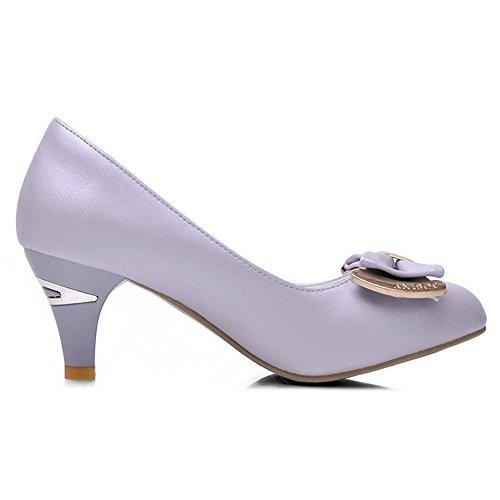 VogueZone009 Damen Pu Leder Mittler Absatz Rund Zehe Eingelegt Ziehen Auf Pumps Schuhe Lila
