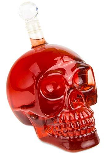 sche (550 ml) für die Hausbar, Party, Totenkopfdesign, Vodka, Whiskey- Flasche, Kristall- Schädel, Totenkopf, Wein- Dekanter, Schnapsglas, Farbe: Transparent ()