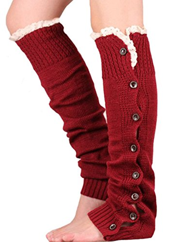 Aidonger Damen Gestrickt Stulpen Overknee Winter Beinlinge Strümpfe mit Spitzen in vielen Farben (Rot Schwarz Schuhe Dame Und)