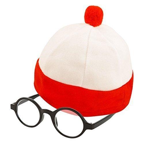 Kinder groß Rot & weiß Gestreift Kostüm Hut & Gläser (WELTTAG DES (Des Welttag Uk Kostüme Buches)
