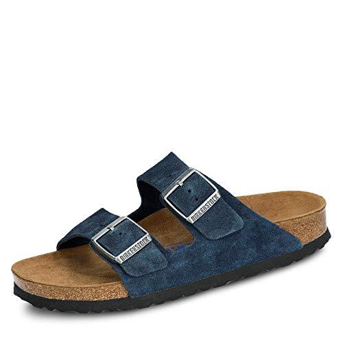 BIRKENSTOCK 1014205 Arizona Damen Pantolette aus Veloursleder Fußbett aus Kork, Groesse 39, blau
