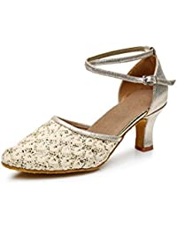 ShangYi Modern Dance Schuhe Frauen weichen Boden mit Tanzschuhe weibliche Tango Tanzschuhe Walzer Schuhe, mit Höhe 7cm, braun, EU39/UK6/CN39
