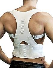 Back Brace,Magnetic Therapy Posture Corrector - Genkent Shoulder Back Support Belt for Men Women Braces & Supports Belt Shoulder Posture-White(M)