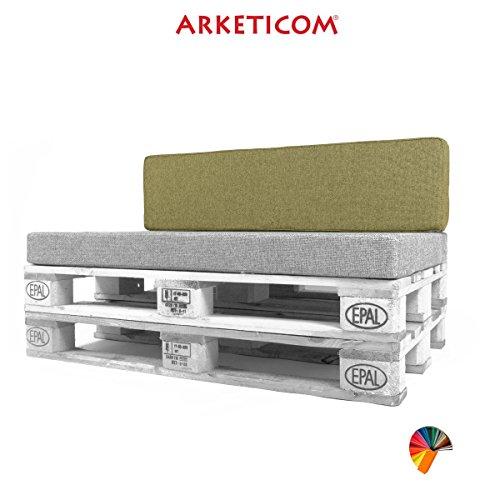 Arketicom Pallett-One Coussin Coussins Espalier pour Canape Euro Palette en Polyurethane haute densite' , Tissu Vert Melange' Polyester Coton, Convient pour interieur et exterieur couvert 80 cm larg x 30 cm haut x 15 epass 1000% Artisanat Italien