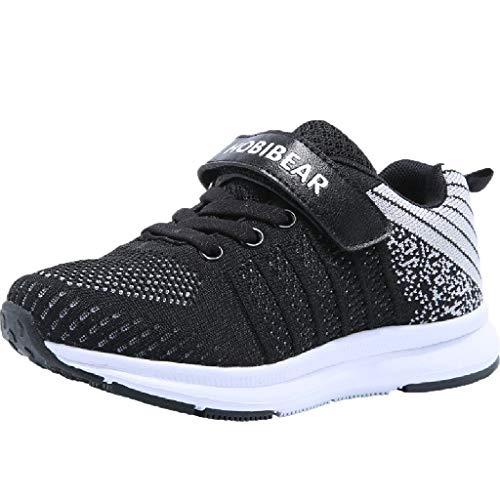 HDUFGJ Unisex - Kinder Sneaker Jungen Mädchen Freizeitschuhe Flache Schuhe Laufschuhe Outdoorschuhe rutschfeste Bequem Leichtgewicht Laufschuhe Freizeitschuhe Turnschuhe fitnessschuhe35 EU(Schwarz)