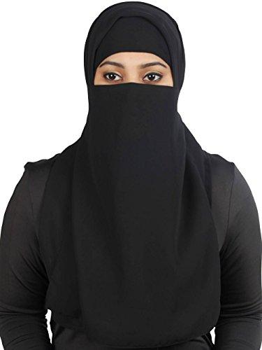 MyBatua halben Niqab langen Nasensteg in atmungsaktivem Georgette, Großhandelspreis, 1 Stk Gesichtsschleier NQ-002 (Schwarz)