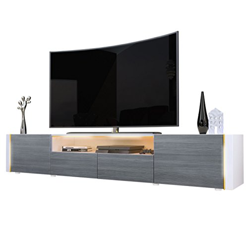 Tv Stand Unit Marino V2, Carcass In White / Front In Avola-anthracite