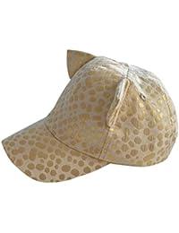 Tangda Casquette avec Protection UV 50+ Chapeau Coton Baseball bébé Fille Garçon Doré Or 3D Ours Animal Mignon Cool Panama Plage Camping Tour de Tête 46-52CM 9mois-6ans optique