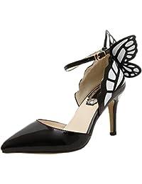 HooH Damen Pumps Spitz Zehe D'Orsay Schmetterling Ankle Strap High Heels Gelb 40 EU