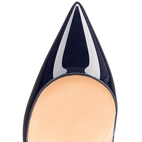 EDEFS Femmes Artisan Fashion Escarpins Délicats Classiques Elégants Pointus Des Couleurs Variées Chaussures à talon de 120mm Bleu Bleu-B