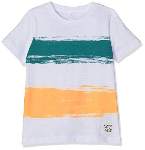 NAME IT Baby-Jungen Nmmhuba Ss Top Box T-Shirt, Weiß Bright White, (Herstellergröße: 98) Pan-box