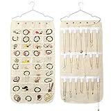 housesweet Schmuck-Organizer zum Aufhängen, 40 Taschen, 21 Schlaufen, Zubehör, Aufbewahrungstasche, doppelseitig, Vliesstoff, weiß, 1pc